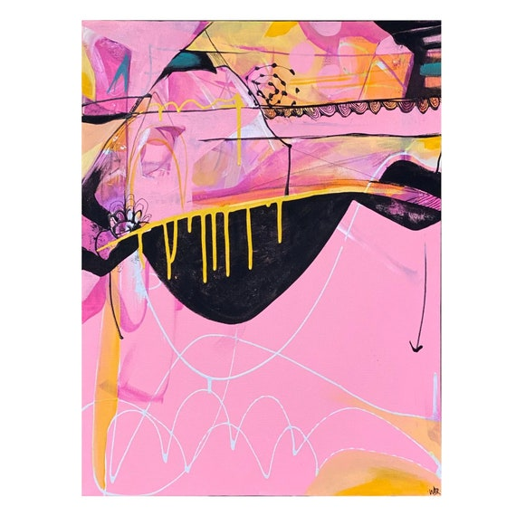 "Festooning - Original Mixed Media painting on 18"" x 24"" on Canvas"
