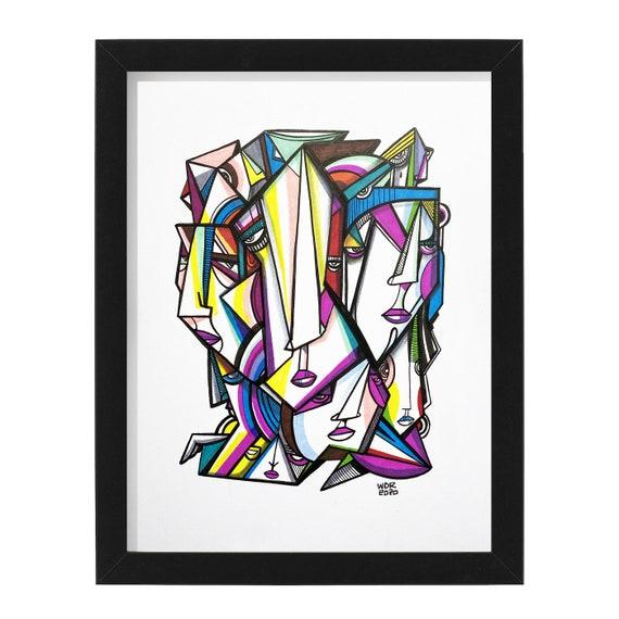 "Voiders - Original mixed media Illustration on Bristol - 8"" x 10"" - Original Artwork"