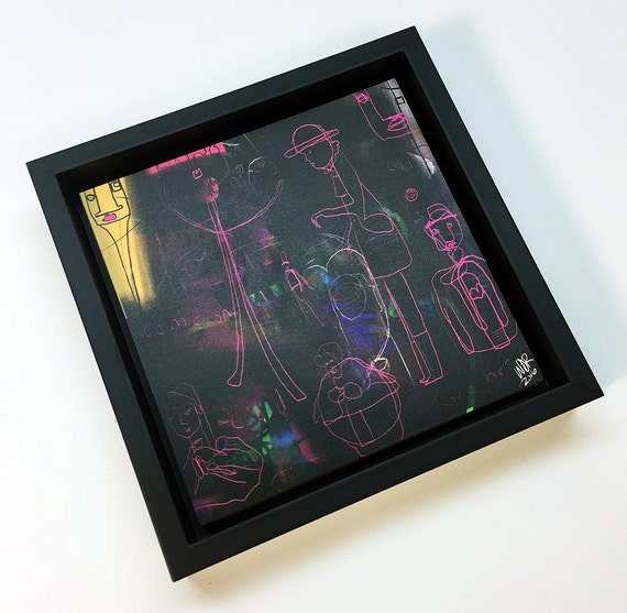 Pink People - Original Vector Drawing - 6x6 Print on Wood - Framed - Signed and Ready to Hang