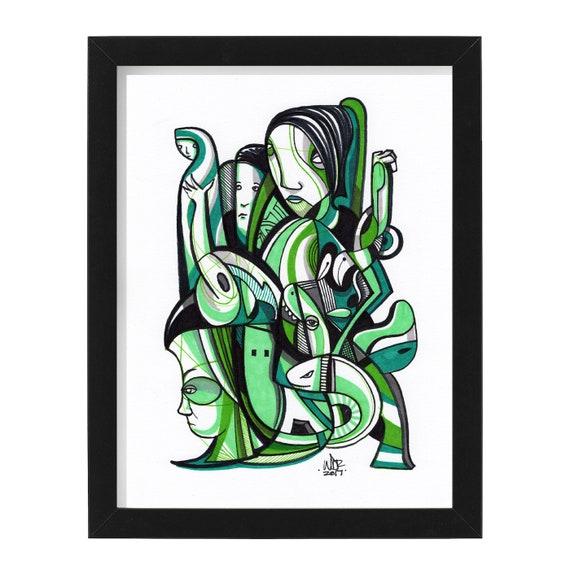 """Atad - Original mixed media Illustration on Bristol - 8"""" x 10"""" - Original Artwork"""