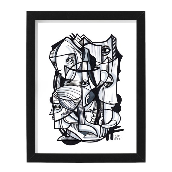 "Band - Original mixed media Illustration on Bristol - 8"" x 10"" - Original Artwork"