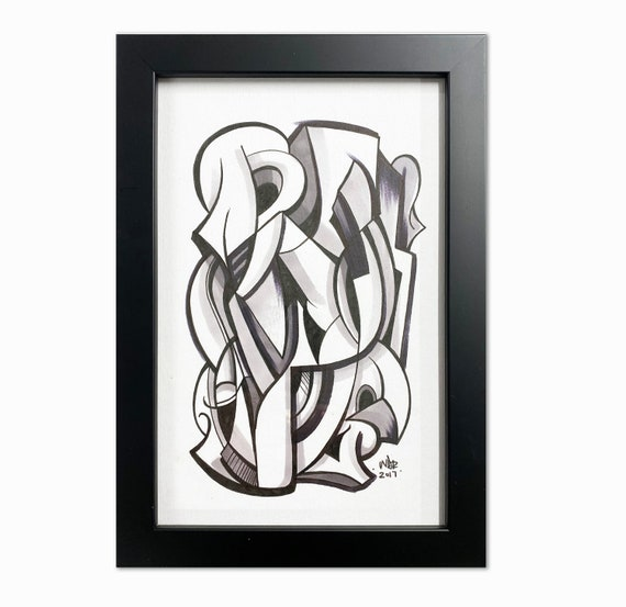 Plots- Original ink drawing on Paper | Signed , Framed and Ready to Hang - 6x9