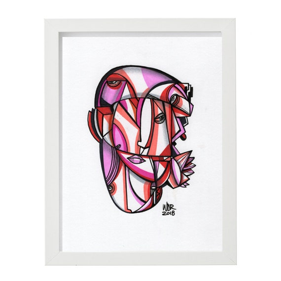 "Crystalized - Original mixed media Illustration on Paper - 8"" x 10"""