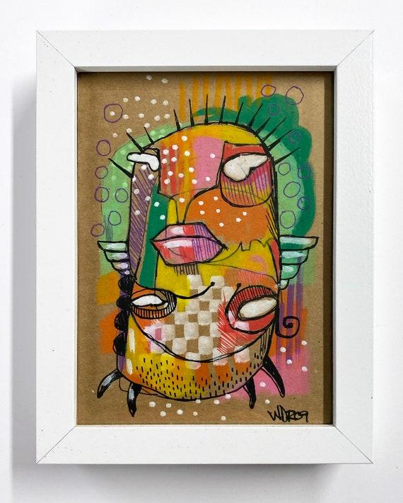 Buggers - Original Illustraion on Cardboard - 5x7 - framed
