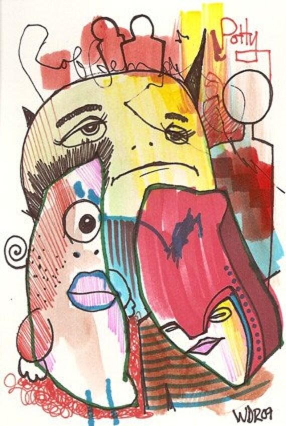 Muno Potty - Collaboration with my son Jazper - Original Illustration on Bristol