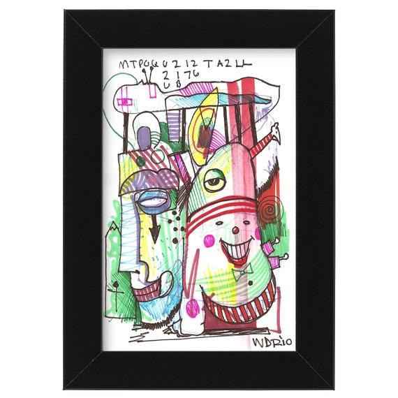 "Disruptonic - Musical wIllustration - Original Illustration on Bristol - 4"" x 6"""