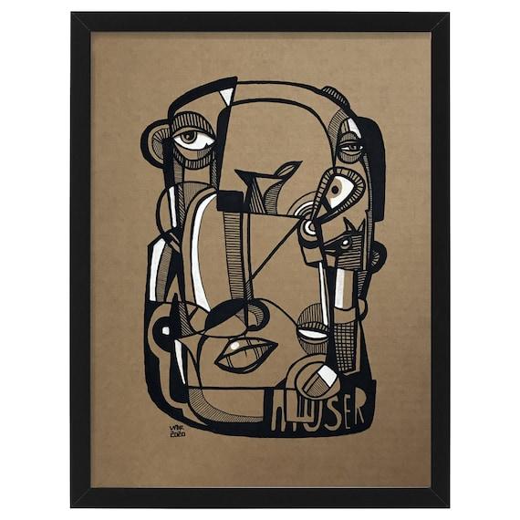 """Muser - Original mixed media Illustration on cardboard - 12"""" x 16"""""""