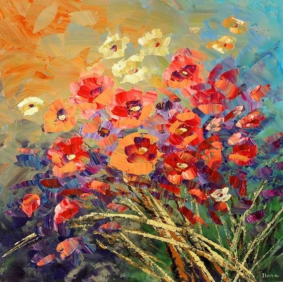 Flower painting palette knife original art field meadow wall decor HAPPY  SOUL - by Tatiana Iliina - Made to order Free shipping Canada USA
