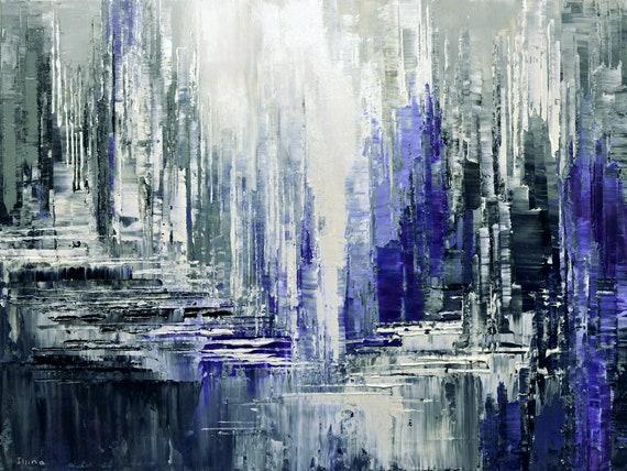 Paysage Peinture Abstraite Couteau Original Glacier 30 X 40 Glaciers Crevasse Par Tatiana Iliina Sans Expédition En Amérique Du Nord