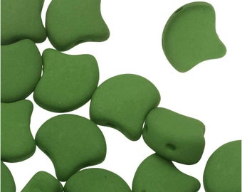 40pcs. Matte Velvet Lizard Green 2-Hole Ginko Bead