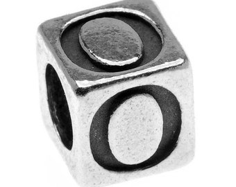 Alphabet Fine Pewter Bead 3mm Hole Approx 5.5mm Cube