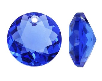 Swarovski Crystal, #6430 Round Classic Cut Pendants 8mm, 2 Pieces, Sapphire