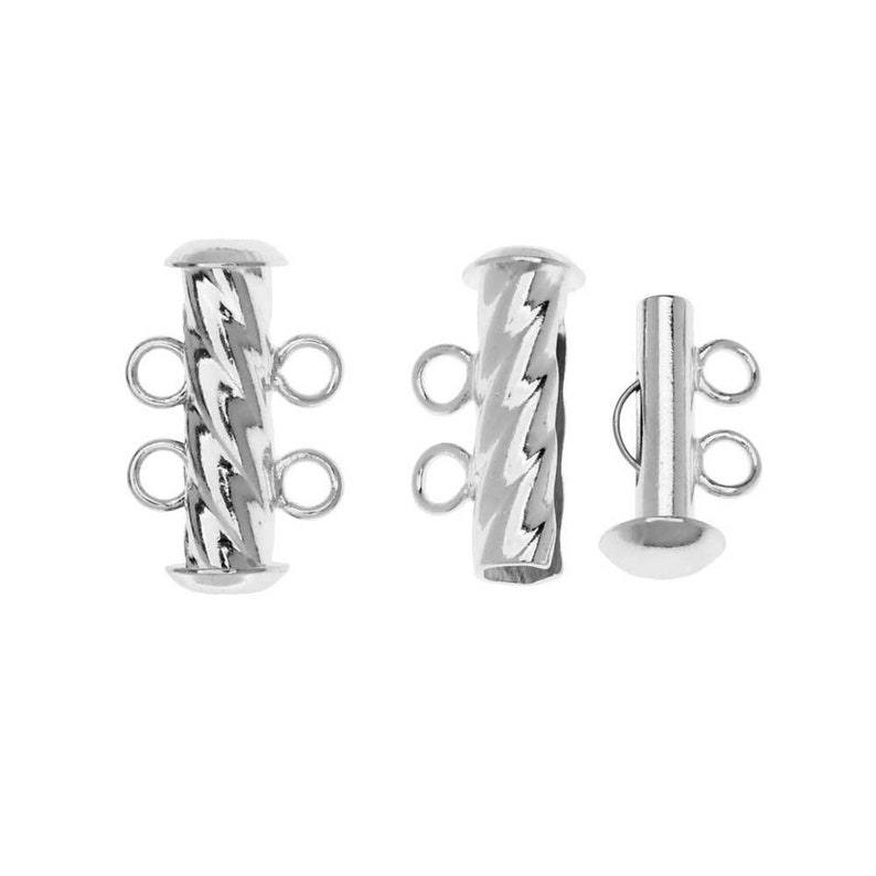 Slide Tube Clasps 2-Strand Fluted Twist 17 x 4.5mm Silver Plated 2 Sets