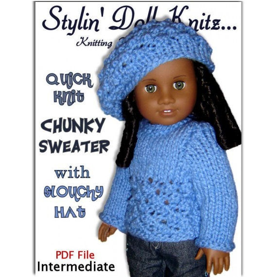 Knitting Pattern Doll Sweater And Slouchy Hat Fits American Etsy