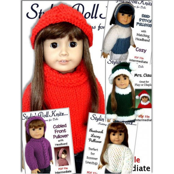 Knitting Patterns Fits American Girl And 18 Inch Doll Knit Etsy