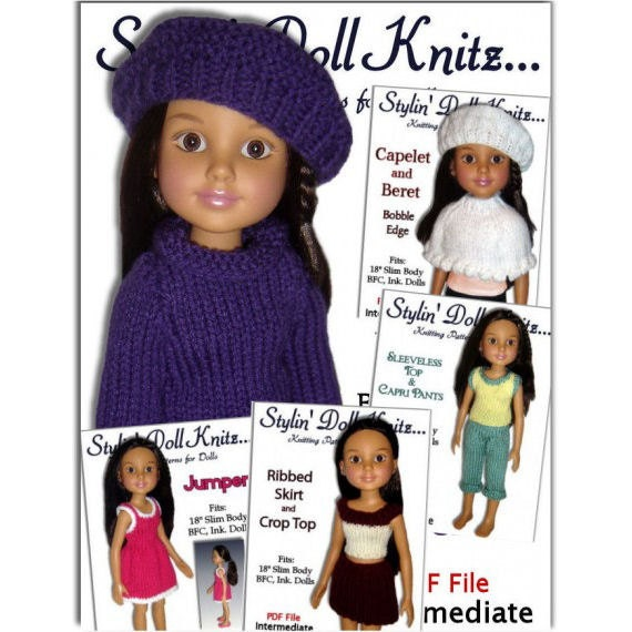 Knitting Patterns Fit Bfc Ink Doll Clothes 18 Inch Slim Etsy