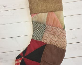 Christmas Stocking-Made with Vintage Quilt Top-Burlap-Ready to Ship