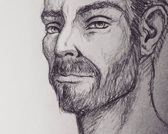 Pencil Sketch Portrait (file only or file and original)