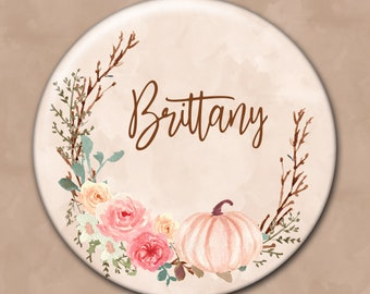 Autumn Wedding, Personalized Pocket Mirror, Bridesmaid Gift, Wedding Memento, Purse Mirror, Fall Colors