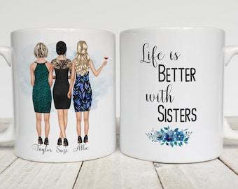 Custom Sisters Mug, Three Sisters Gift,  Long Distance Sisters Gift, Sister Birthday Gift, Little Sister, Big Sister Gift, Siblings Mug