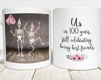 Custom Best Friend Mug, Party Skeletons, Best Friend Birthday Gift, Friendship Coffee Mug, Dancing Skeletons, Celebrate Best Friends, BFF