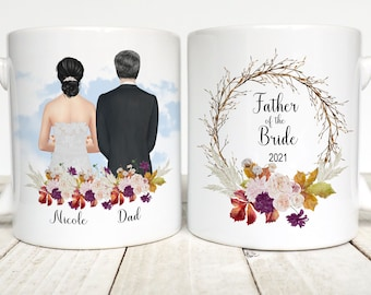 Father of the Bride Gift, Personalized Mug, Father of the Bride Mug, Wedding Memento, Custom Father's Mug, Gift for Dad, Autumn Wedding