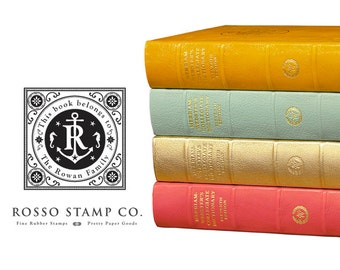 Vintage Nautical Inspired BookPlate - This Book Belongs to Stamp - Monogrammed Anchor Book Stamp