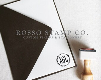 Monogram Stamp, Wedding Monogram Stamp, Custom Stamp - Style No. 8