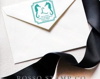 Address Stamp - Seahorse stamp - Return Address Stamp - Custom Stamp - Monogram Stamp - Personalized Address Stamp