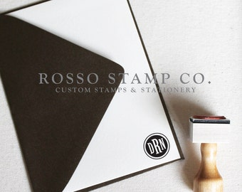 Monogram Stamp, Wedding Monogram Stamp, Custom Stamp - Style No. 1