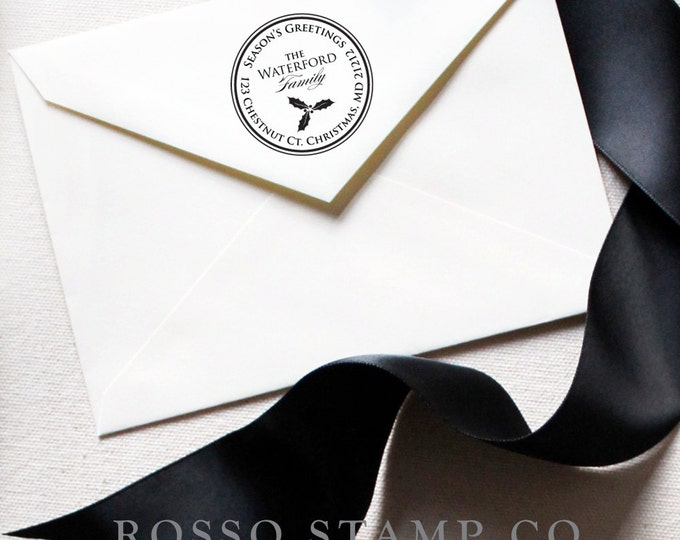 Featured listing image: Christmas Address Stamp - Holly Return Address Stamp - Christmas Stamp - Holiday Return Address Stamp - Personalized Address Stamps