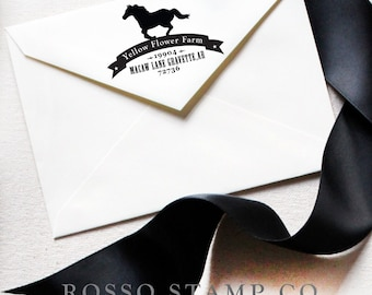 Custom Stamp - Return Address Stamp with a Horse - Personalized Address Stamp