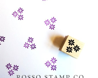 Bunch of Flowers Stamp - Trio Flower Rubber Stamp - Floral Stamp - Spring Rubberstamp