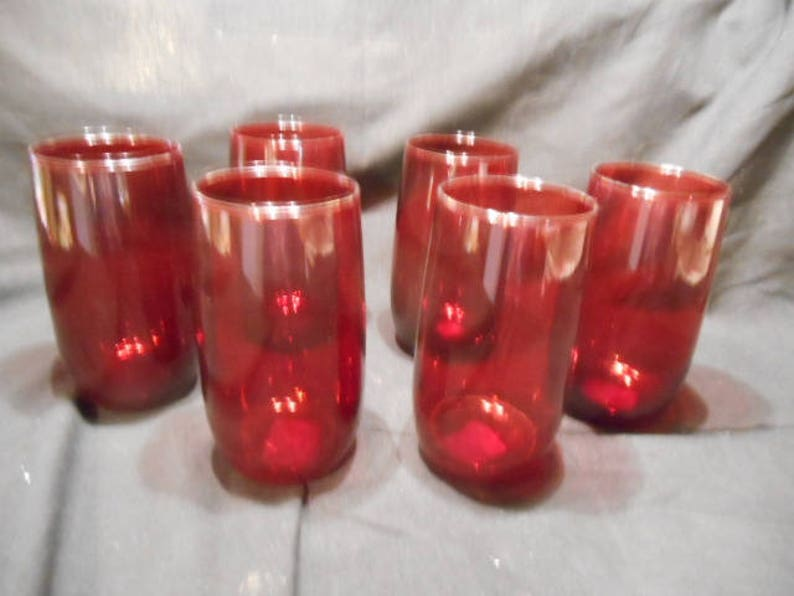 6- 1940'S Anchor Hocking RUBY RED Depression Glass 5