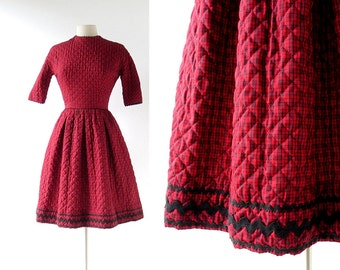 Vintage Lanz Dress | Red Plaid Dress | 1960s Dress | XXS