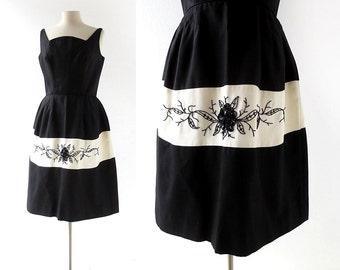 Vintage 60s Dress   La Rose Noire   1960s Dress   Medium M