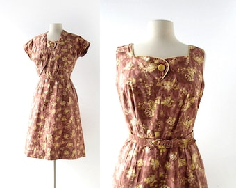 Vintage 1950s Dress   Yellow Rose Dress   50s Dress and Jacket   S M