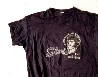 Vintage Elvis T Shirt   Elvis Still Lives   1970s T-Shirt   Glitter Tee   Men's M-L Women's  L-XL
