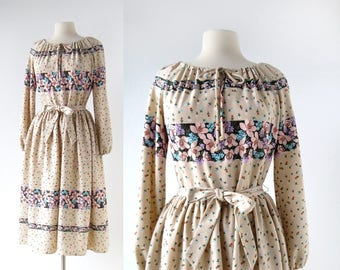 70s Floral Dress | Urban Bohemian | 1970s Dress | Medium M