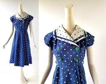 50s Polka Dot Dress | Sailor Dress | 1950s Dress | XS