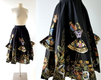 "1950s Circle Skirt | Peekaboo Skirt Ladies | Hand Painted Mexican Skirt | 23"" Waist"