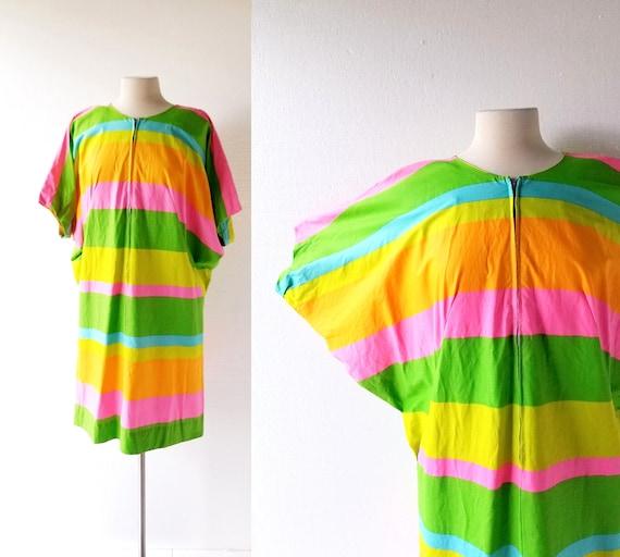 Vintage Cocoon Dress | Fruit Stripe | 1970s Dress