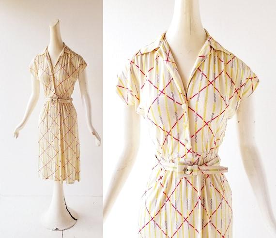 1940s Day Dress | Spring Loaded | 40s Dress | XS