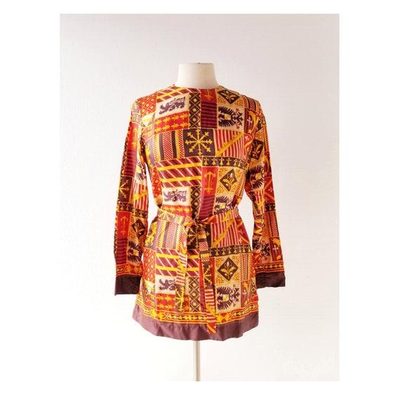 vintage paisley Dress Size small S women tunic yellow orange oriental dress