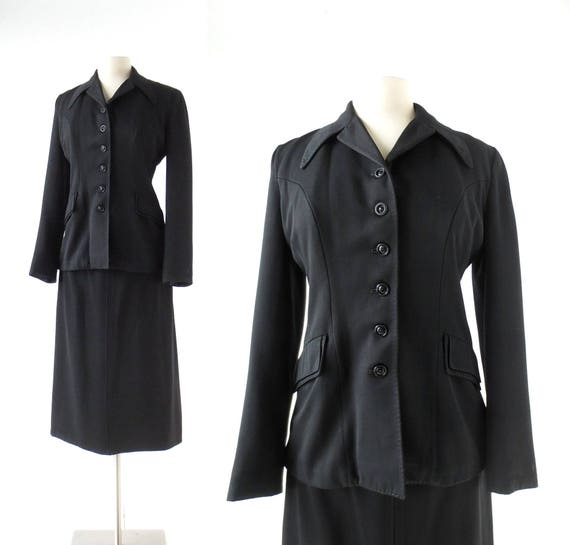 Vintage 40s Suit | Gabardine Suit | 1940s Skirt Su