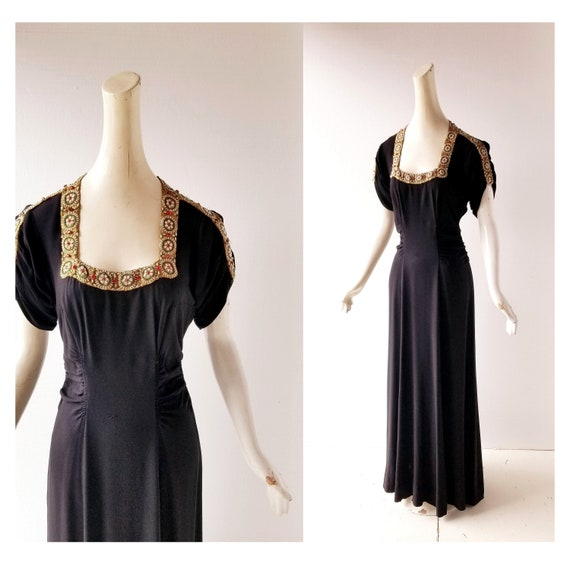 Vintage 30s Gown | a la Schiaparelli | 30s Dress |