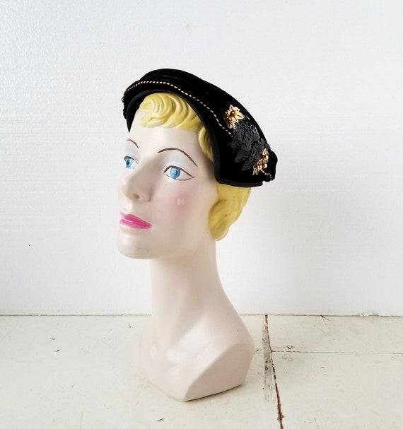 38237c5e22d Vintage 1950s Hat Cocktail Hat Sequin Hat