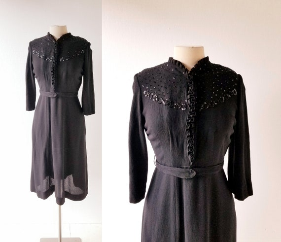 Black 1940s Dress | Now, Voyager | 40s Dress | Sma