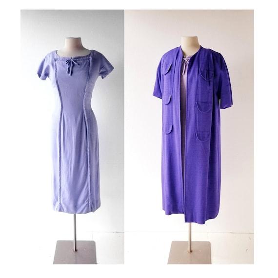 50s Dress and Coat | Periwinkle Dress | Linen Dres