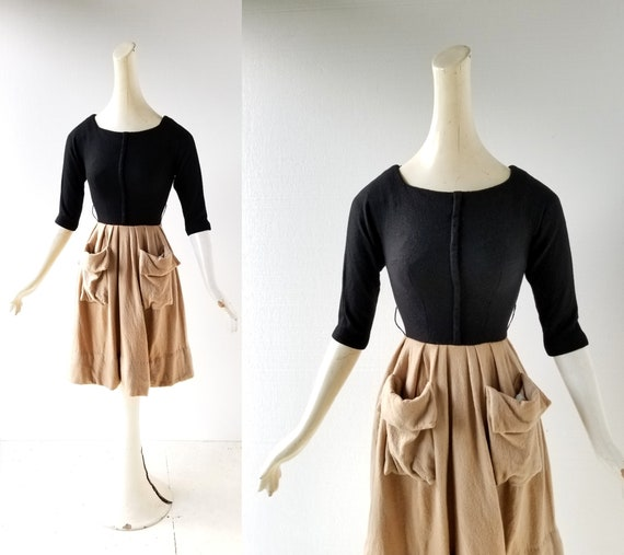 Vintage 50s Dress | Two Tone Dress | Gigi Young |